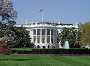 The neoclassical facade of the White House.